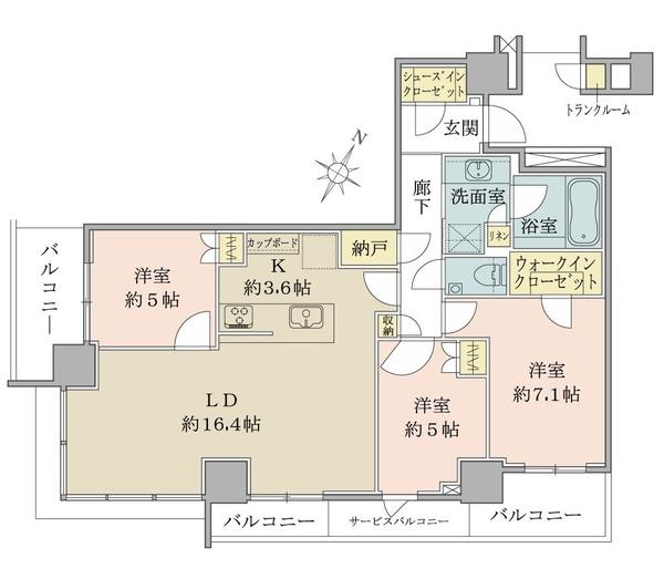 ブリリアザタワー東京八重洲アベニューの間取図/26F/16,800万円/3LDK+WIC+SIC/83.58 m²