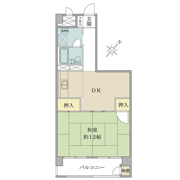 東建金町マンションの間取図/7F/1,480万円/1DK/46.44 m²