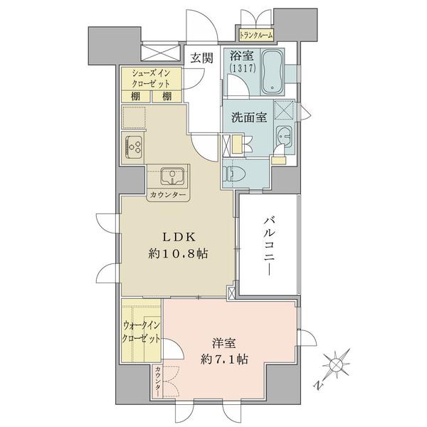 ブリリア銀座idの間取図/9F/6,280万円/1LDK+WIC/47.99 m²