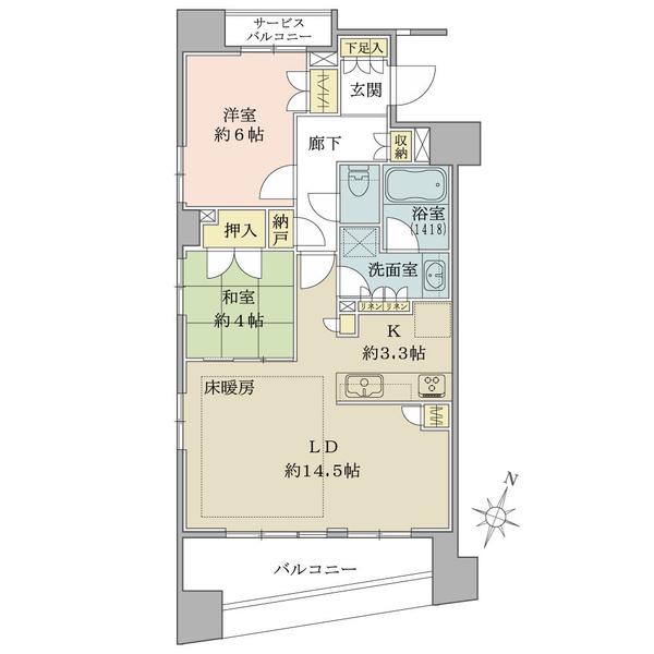 ブリリア日本橋浜町の間取図/6F/6,860万円/2LDK+N/65.71 m²