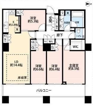 ブリリアタワー東京の間取図/14F/11,700万円/4LDK/101.16 m²
