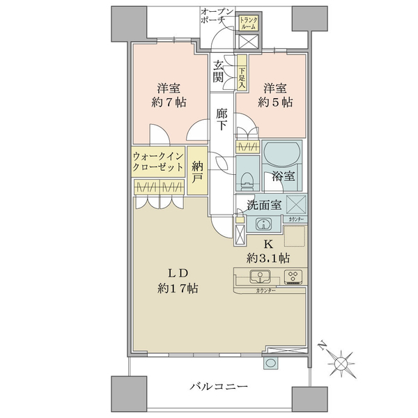 Brillia大島小松川公園の間取図/17F/4,850万円/2LDK+WIC+N/76.15 m²