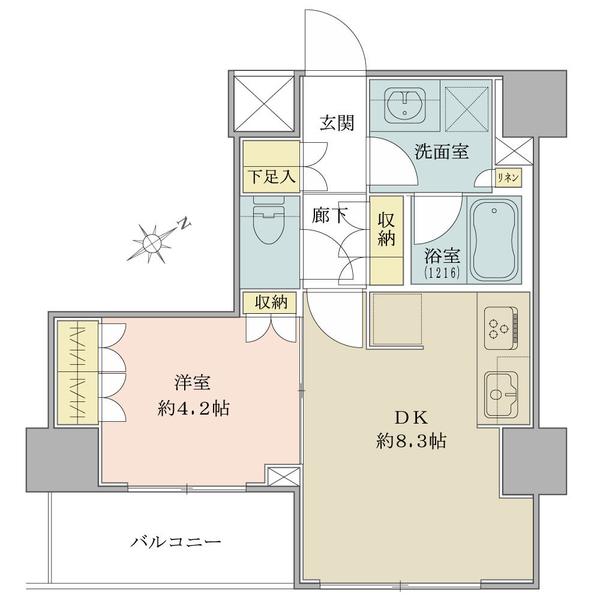 Brillia日本橋茅場町の間取図/7F/4,180万円/1DK/34.56 m²