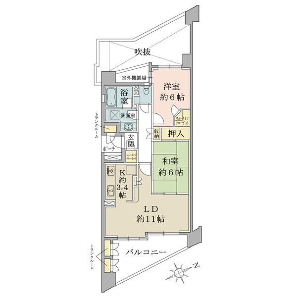 エムステージ・イースティアの間取図/4F/4,080万円/2LDK/64.21 m²
