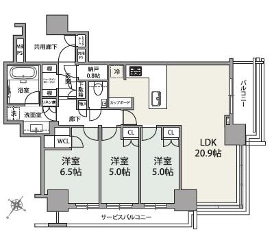 ブリリアザ・タワー東京八重洲アベニューの間取図/20F/14,800万円/3LDK+WIC+SIC/83.33 m²