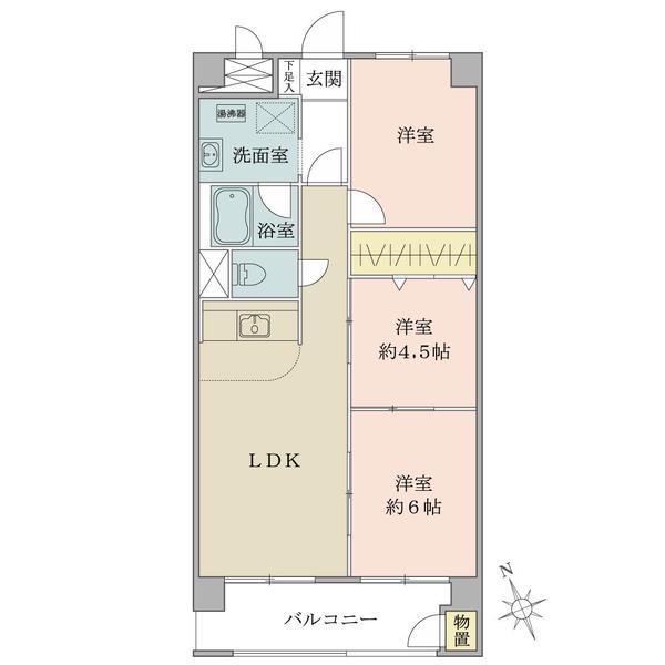 東建金町マンションの間取図/13F/1,550万円/3LDK/56.65 m²