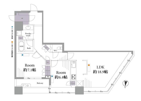 ブリリアタワー東京の間取図/13F/8,899万円/2LDK/78.51 m²