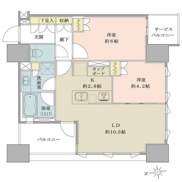 ブリリア秋葉原の間取図/13F/7,780万円/2LDK/53.45 m²