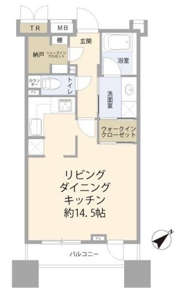 ブリリア銀座idの間取図/9F/9,980万円/1K+WIC/39.93 m²
