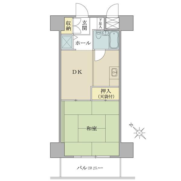 ニューハイツ八丁堀の間取図/8F/1,850万円/1DK/34.65 m²