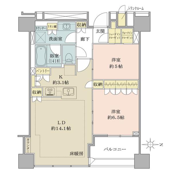 ブリリアタワー上野池之端の間取図/33F/12,000万円/2LDK/68.1 m²