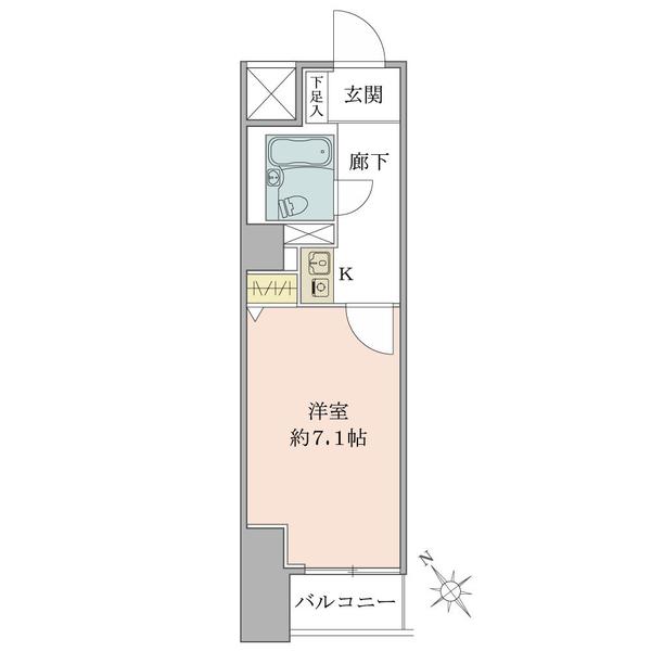東建シティハイツ上野の間取図/2F/1,500万円/1K/22.52 m²