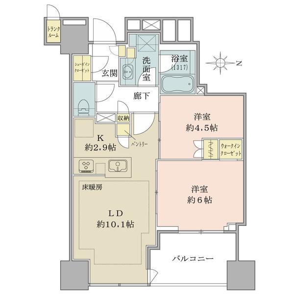 ブリリアタワー上野池之端の間取図/24F/9,480万円/2LDK/54.95 m²