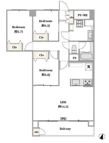 東建金町マンションの間取図/12F/2,850万円/3LDK/71.52 m²