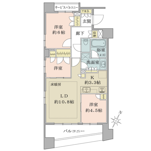 ブリリア日本橋浜町の間取図/4F/6,680万円/3LDK/65.71 m²