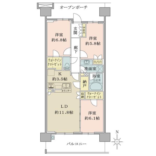 ブリリア多摩ニュータウンA棟の間取図/5F/3,930万円/3LDK/77.24 m²