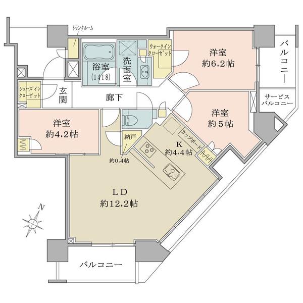 ブリリアザタワー東京八重洲アベニューの間取図/20F/11,700万円/3LDK/73.3 m²