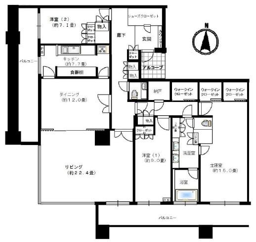 ブリリアタワー東京の間取図/45F/39,951万円/3LDK/177.22 m²