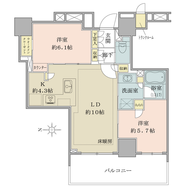 ブリリアタワー上野池之端の間取図/27F/9,480万円/2LDK/58.63 m²