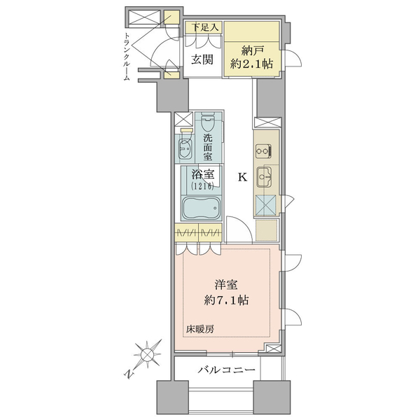 ブリリア銀座idの間取図/12F/4,800万円/1R/35.18 m²