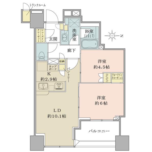 ブリリアタワー上野池之端の間取図/10F/8,640万円/2LDK++TR/54.95 m²