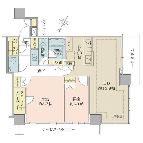 ブリリアザタワー東京八重洲アベニューの間取図/5F/12,500万円/2LDK/76.83 m²