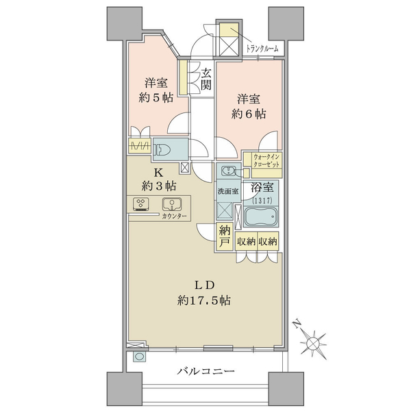 ブリリア大島小松川公園の間取図/11F/4,330万円/2LDK+WIC+N/68.11 m²