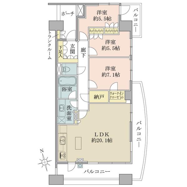 グランエスタの間取図/8F/6,780万円/3LDK+WIC/90.43 m²