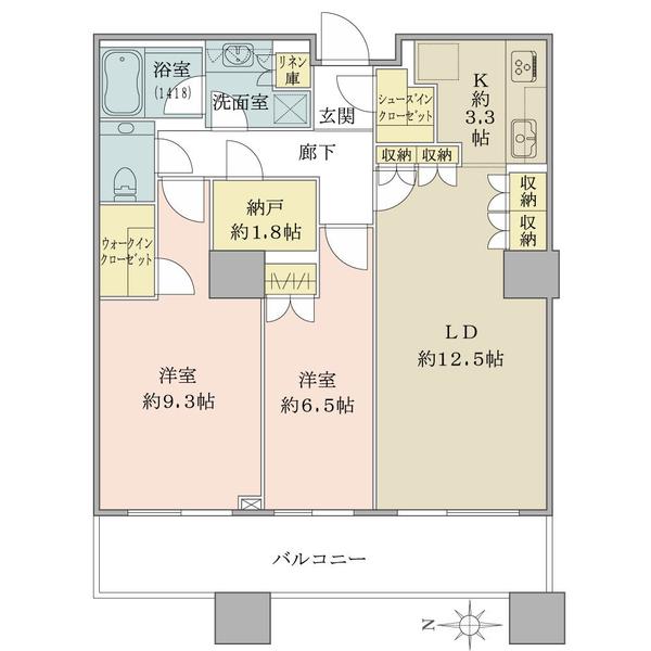 ブリリアタワー東京の間取図/31F/8,790万円/2LDK/77.3 m²
