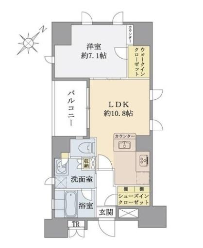 ブリリア銀座idの間取図/10F/7,480万円/1LDK/47.99 m²