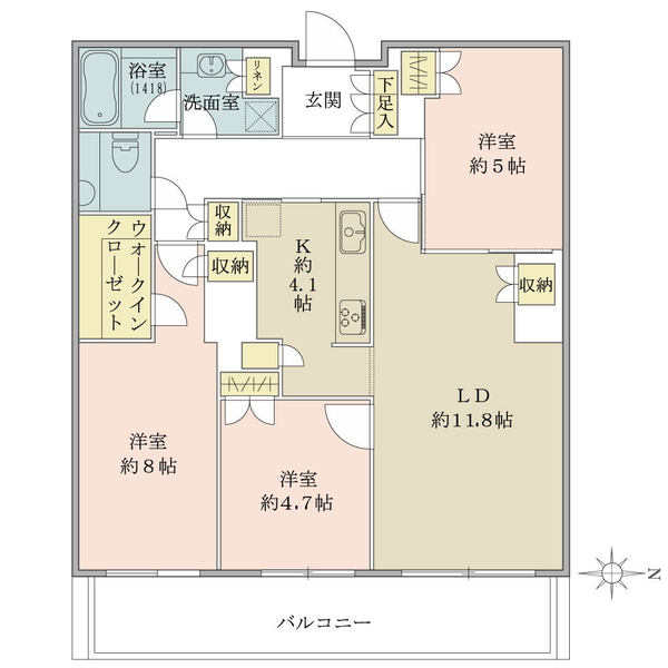 ブリリアタワー東京の間取図/24F/9,200万円/3LDK/80.12 m²