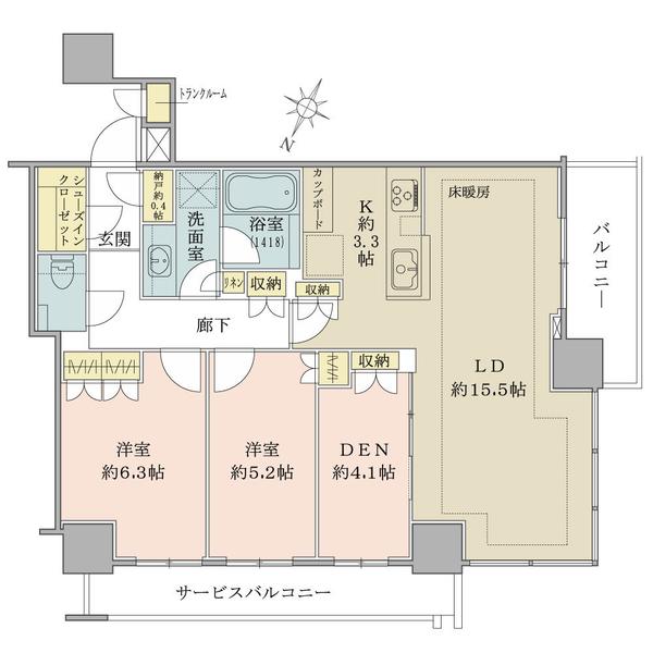 ブリリアザタワー東京八重洲アベニューの間取図/8F/11,399万円/2LDK+DEN/76.83 m²