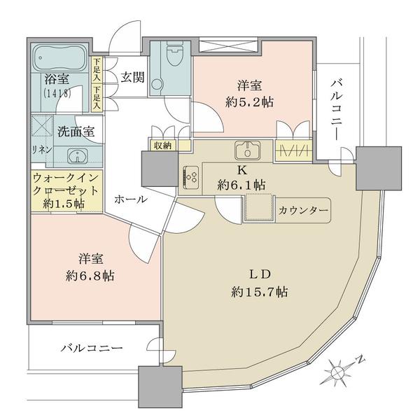 東京ツインパークス ライトウィングの間取図/15F/15,800万円/2LDK+WIC/76.68 m²