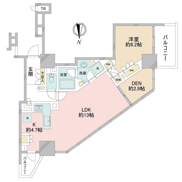 ブリリアタワー上野池之端の間取図/25F/9,080万円/1LDK/62.53 m²