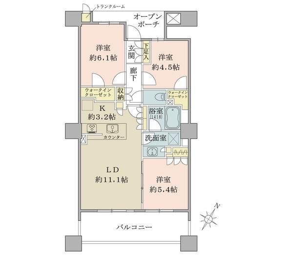 ブリリア有明スカイタワーの間取図/30F/6,480万円/3LDK/68.28 m²