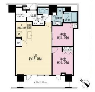 ブリリアザタワー東京八重洲アベニューの間取図/4F/9,000万円/2LDK/72.85 m²