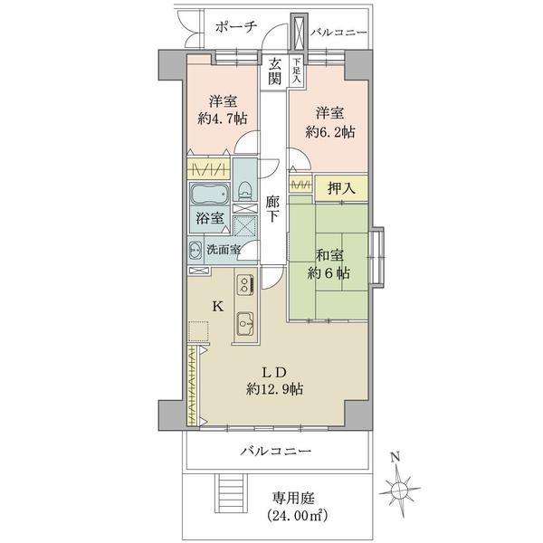東建ニューハイツ元加賀の間取図/1F/3,980万円/3LDK/73.06 m²