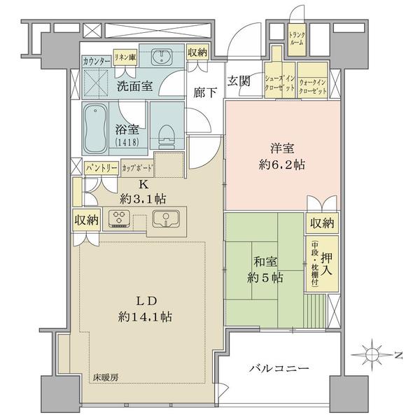 ブリリアタワー上野池之端の間取図/34F/11,500万円/2LDK/67.65 m²