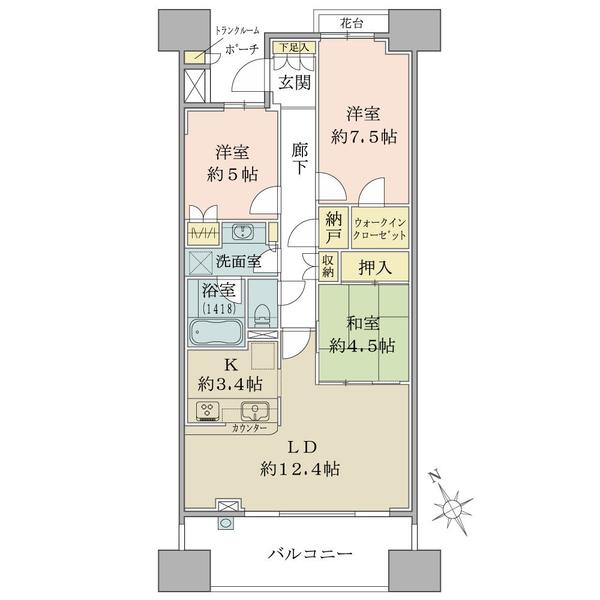 グランエスタの間取図/8F/5,490万円/3LDK/76.82 m²