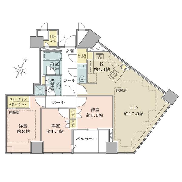 ブリリア一番町の間取図/3F/21,800万円/3LDK/95.23 m²