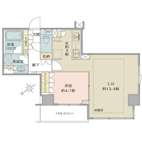 ブリリア日本橋茅場町の間取図/8F/5,900万円/1LDK/50.15 m²
