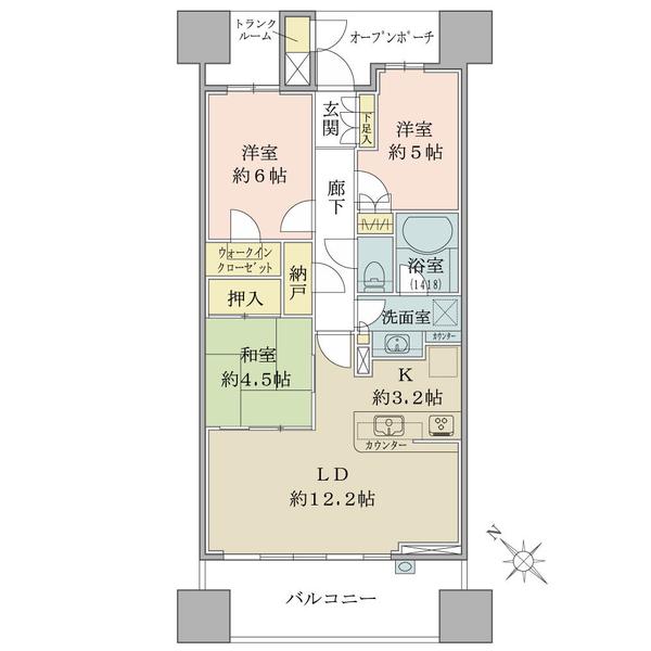 ブリリア大島小松川公園の間取図/14F/4,480万円/3LDK+WIC+N/71.64 m²
