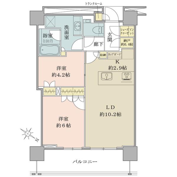 ブリリアザタワー東京八重洲アベニューの間取図/17F/8,380万円/2LDK/55.88 m²