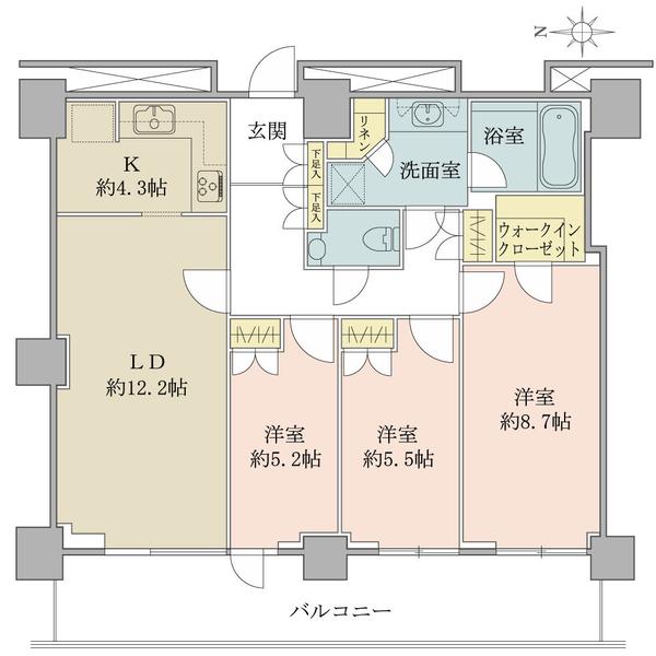 ルネッサンスタワー上野池之端の間取図/31F/10,800万円/3LDK/84.99 m²