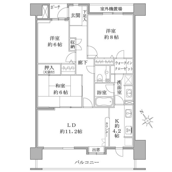 プランヴェールEXサザンウィングの間取図/14F/2,490万円/3LDK/83.64 m²