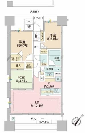 ブリリア大島小松川公園の間取図/11F/4,390万円/3LDK+WIC+N/70.17 m²