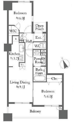エムステージ・イースティアの間取図/7F/4,380万円/2LDK/57.1 m²