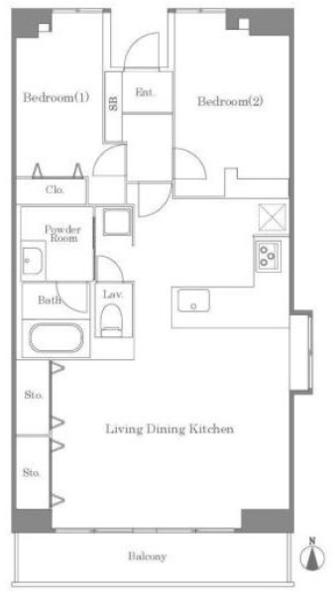 東建ニューハイツ元加賀の間取図/14F/5,180万円/2LDK/76.42 m²