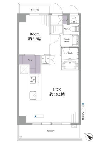 ニューハイツ八丁堀の間取図/9F/3,699万円/1LDK+WIC/45.67 m²