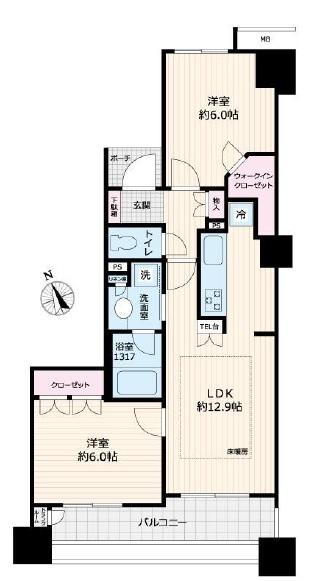 エムステージ・イースティアの間取図/5F/4,099万円/2LDK+WIC/57.1 m²